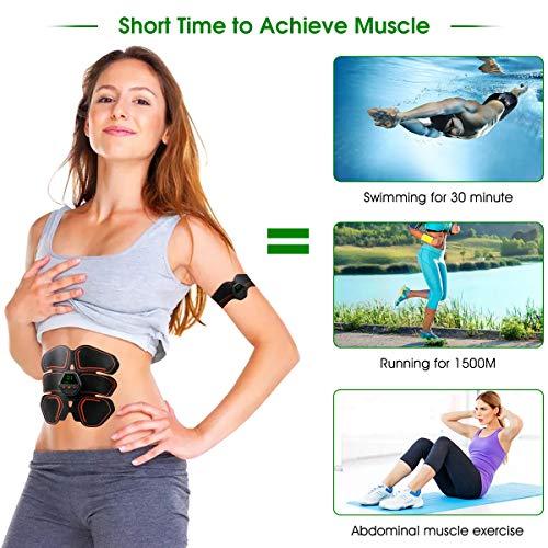 Muscle Toner EMS Ab Trainer Rechargeble Abdominal Toning Belt 10 modes 20 Intensities for Abdomen/Arm/Leg Training Men Women Abs Workout Machine 2