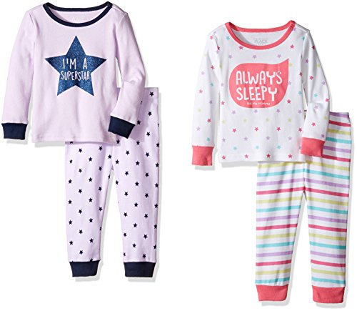 Toddler Girls Long Sleeve Pajamas - The Children's Place Baby Girls Toddler Top and Pants Pajama Set, Multi Color 77165 (Pack of 2), 2T