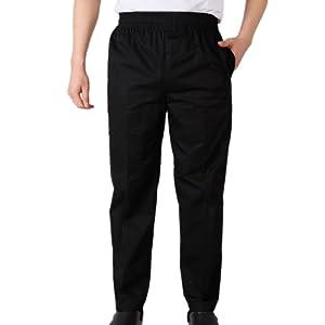 Pantalon de Chef avec Tailles élastiquée Rouge Noir