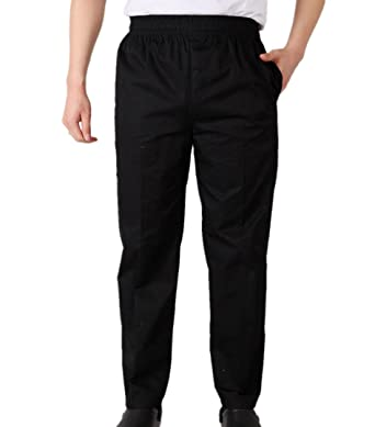 WAIWAIZUI Pantaloni da Chef Nero  Amazon.it  Abbigliamento e8f06021e8bc