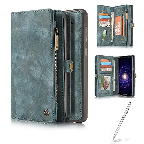 Yaheeda Galaxy S9 Plus Case, Handmade Premium Cowhide Leather Wallet Case,Zipper Wallet Case with Stylus [Magnetic Closure] Detachable Magnetic Case & Card Slots for Samsung Galaxy S9 Plus