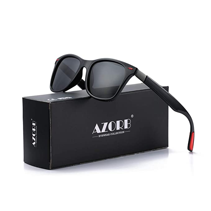2a5d84e5581 AZORB Polarized Sunglasses for Men TR-90 Square Frame Black Driving Sun  Glasses (Black