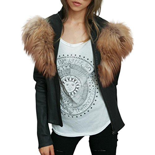 Price comparison product image Women Sexy Blouse ,Fheaven Women Ladies Faux Leather Outwear Racing Style Biker Fur Hoodied Jacket Coat (XL, Black)