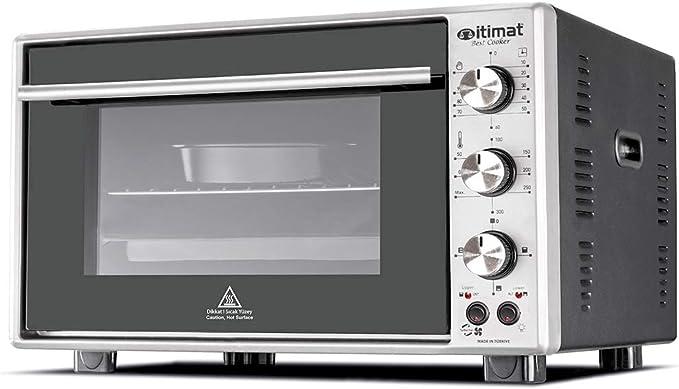 Mini horno de doble acristalamiento eléctrico con ventilador turbo, 60 L, color negro: Amazon.es: Grandes electrodomésticos