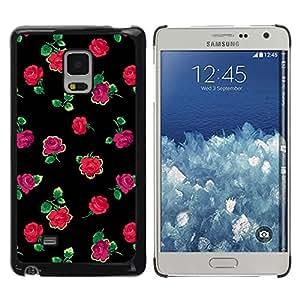 TopCaseStore / la caja del caucho duro de la cubierta de protección de la piel - Roses Black Green Pink Minimalist - Samsung Galaxy Mega 5.8 9150 9152