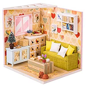 CUTEBEE Dollhouse Miniature with Furniture, DIY Dollhouse Kit Plus Dust Proof and Music Movement, 1:24 Scale Creative Room Idea(Leisure Rest)