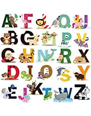DEKOSH Educational Animal Alphabet Kids Wall Decals - Baby Nursery Decor Peel Stick Decorative Baby Stickers for Playroom, Classroom Decoration