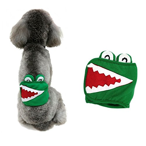 Stock Show 1Pc Male dog Belly Band, Washable Cotton Pet Diapers Health Wrap with Velcro for Boy Puppy/Doggie, Green Crocodile