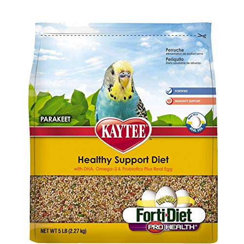 - Kaytee Forti Diet Egg-Cite Bird Food for Parakeets, 5-Pound Bag 3 Pack