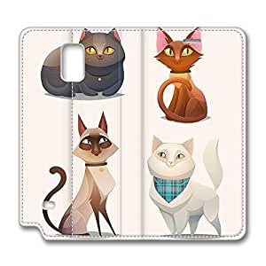 Brian114 Samsung Galaxy Note 4 Case, Note 4 Case - Samsung Note 4 Protective and Light Carrying Cover Cartoon Cats Non-Slip Leather Case for Samsung Galaxy Note 4