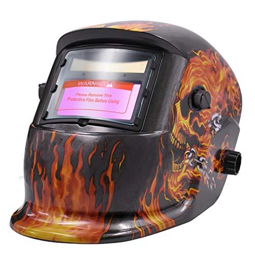 Flaming Skull Mask (HZXVOGEN Welding Helmet Solar Powered Auto Darkening Hood with Adjustable Shade Range for Mig Tig Arc Welder Mask Shield Flaming Skull)