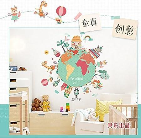 Letti A Terra Per Bambini.Hongrun Elegante Personalizzato Di Pianeta Terra Adesivo Parete