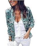 Asskdan Women's Long Sleeve Floral Printed Zip Up Bomber Jacket Baseball Biker Short Coat Basic Tops (Blue, S)