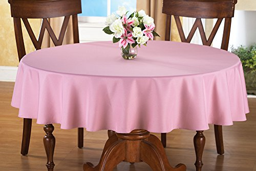 Basic Tablecloth (70 Inch Round Solid Colored Tablecloth, 100% Durable Polyester, Rose)