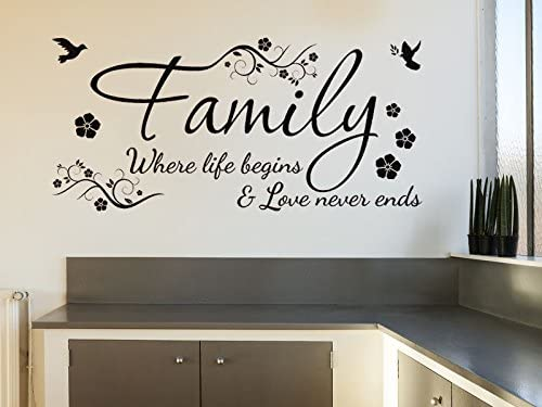 Family Wall Quote Decal Family where life begins and love never ends wall sticker love wall quote where love never ends wall decals
