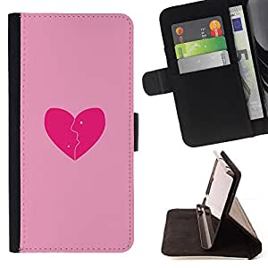 - Love Pink Broken Heart - - Monedero PU titular de la tarjeta de cr????dito de cuero cubierta de la caja de la bolsa FOR Sony Xperia Z3 D6603 RetroCandy