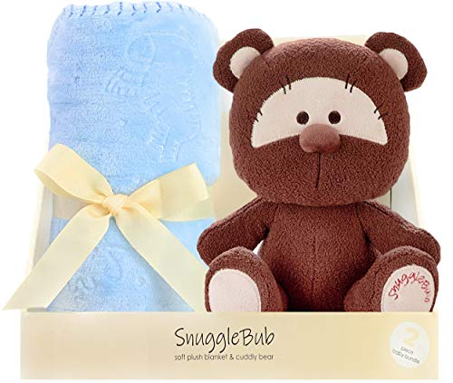 SnuggleBub Minky Crib Blanket for Babies, Toddlers - Ultra Soft Polyester, Blue, 30 x 40 - Baby Blankie Set with Stuffed Animal for Nursery, Travel