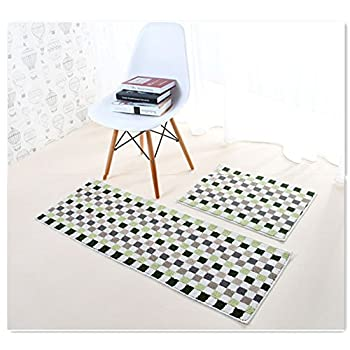 "Eanpet Kitchen Rugs Sets 2 Piece Kitchen Floor Mats Non-Slip Rubber Backing Area rugs for kids Carpet Runner Rug Non-skid Kitchen Door Mats Inside Rug Pad Sets- 18""x 24"" + 18""x 47"", Green Mosaic"
