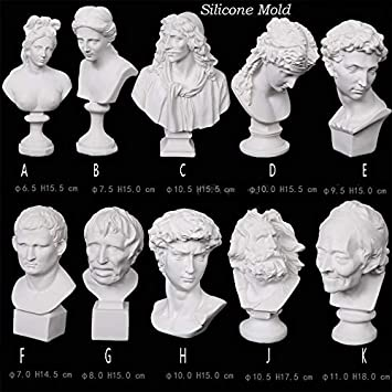 Resin Casting Portrait Painting Mold Crafts Tools Y-QUARTER Great Artists Figures David Polymer Clay Plaster Candle Silicone Mold