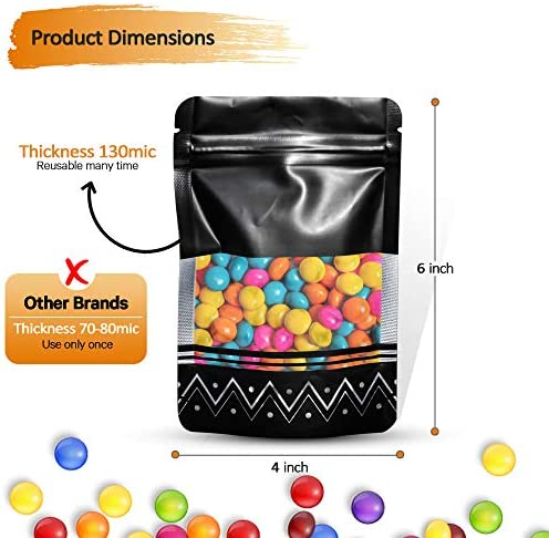"""50-Pack Resealable Smell Proof Bags 4""""x6"""", Flat Food Storage Ziplock Pouch Bag Set for Party Favors, Snacks, Candy, Nuts"""