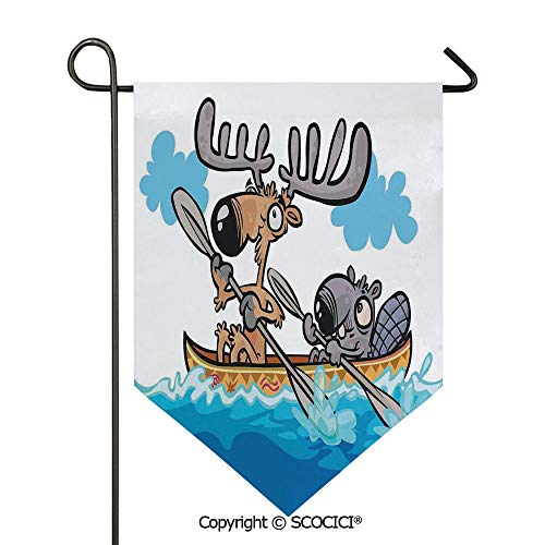 Cabelas Canoe - SCOCICI Easy Clean Durable Charming 12x18.5in Garden Flag American Animals Boat Beaver Friend Canoe River Fun Native Characters Cartoon,Blue White Brown Double Sided Printed,Flag Pole NOT Included
