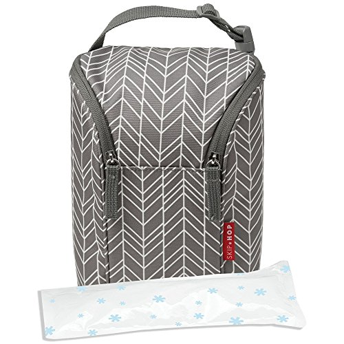 Skip Hop Insulated Breastmilk Cooler And Baby Bottle Bag, Grab & Go Double, Grey Feather by Skip Hop (Image #2)
