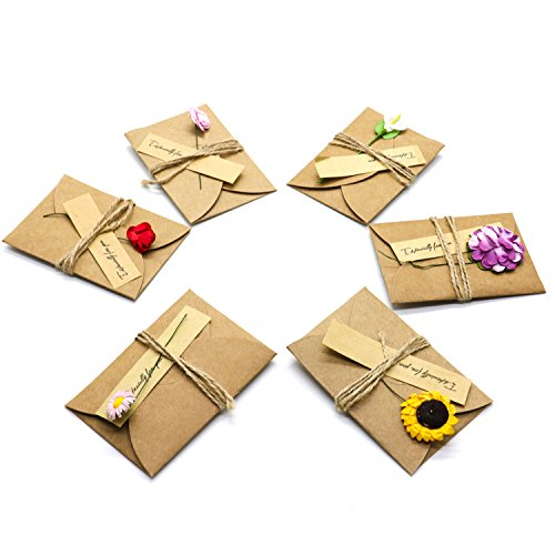 HUELE 30 PCS 6 Designs Vintage Kraft Handmade Dried Flowers Greeting Cards Thank You Notes Birthday Party Invitation Card Set with (Handmade Note Card Set)