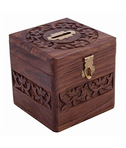 xmas present, Wooden Coins Storage Box, Money Bank & Carving Work & Lock, Kids Coin Bank, Money Banks For Kids / Adults / Girls, Brown Color Size 4.5 X 3 Inch Photo #6