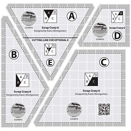 Creative Grids Scrap Crazy for 6'' Finished Blocks - Set of Four Quilting Ruler Templates  CGRMT6 by Creative Grids