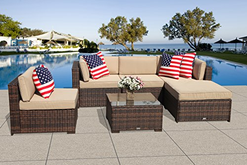 Patiorama Outdoor Patio Sectional Furniture (6-Piece Set) All-Weather Brown Wicker Sectional with Beige Seat Cushions &Glass Coffee Table| Patio, Backyard, Pool|Steel Frame