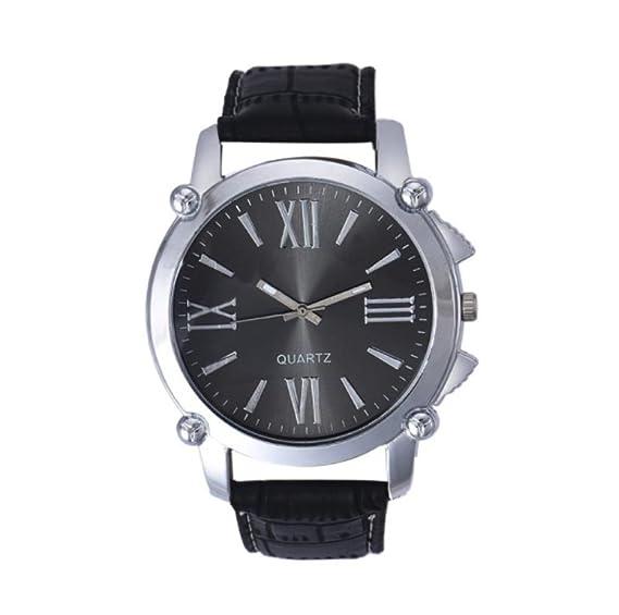 timelyo® Reloj habillée para hombre cuarzo Watch Replica regalo cumpleaños Bijou Mode reloj negro: Amazon.es: Relojes