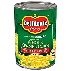 Del Monte Canned Golden Sweet Whole Kernel Corn No Salt Added, 15.25 Ounce (Pack of 24) Canned Corn