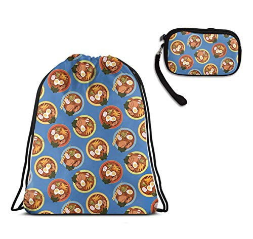 Swim Drawstring Backpack, Lightweight Tote Cinch Sack - Japanese Ramen Drawstring Rucksack, Large Water Resistant Tote Cinch Sack + Clutch Wallet Card Holder ()