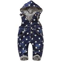 Kidscool Baby & Little Boys/Girls Star Print Cardigan Denim Hooded Overalls