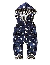 Kidscool Baby Boys/girls White Star Print Cardigan Denim Overalls with Hat