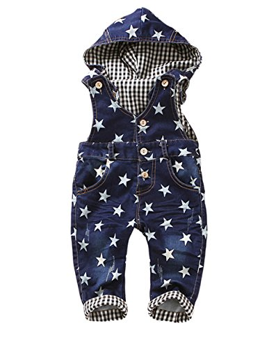 Kidscool Baby Boys/girls White Star Print Cardigan Denim Overalls with Hat