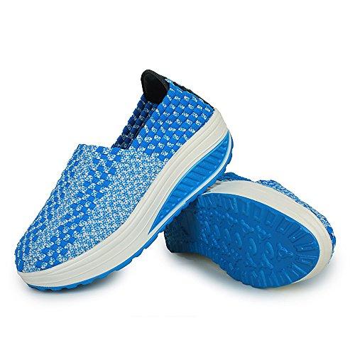 Enllerviid Femmes Multicolor Tresse Mode Sneakers Occasionnels Plate-forme Slip-weave Chaussures 355 Bleu
