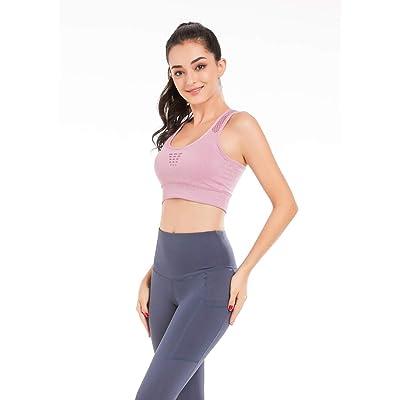 Yellow Leopard,L OUGES Yoga Bra Longline Workout Sports Bra Cami for Women