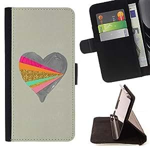 For Sony Xperia Z3 Compact / Z3 Mini (Not Z3) Case , Corazón del dibujo del arte de Artesanía de Oro- la tarjeta de Crédito Slots PU Funda de cuero Monedero caso cubierta de piel