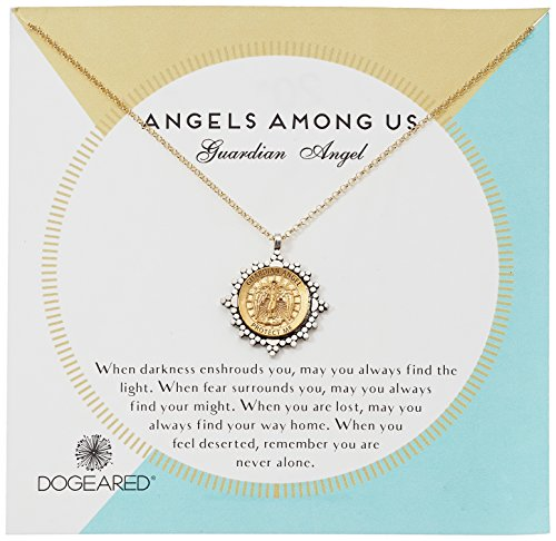 Dogeared Angel Necklace - Dogeared Angels Among Us Guardian Angel 2-Tone Saint Chain Necklace, Gold, 18