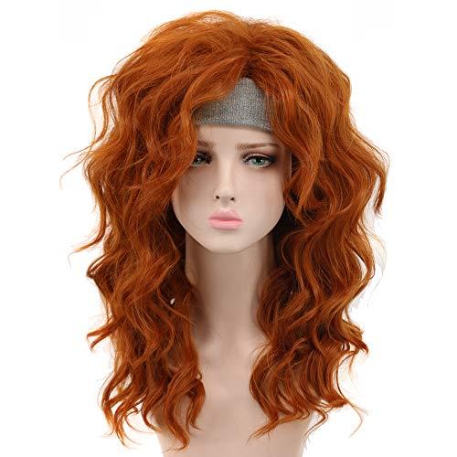 - Yuehong Long Curly Auburn Orange Wig Heat Resistant Cosplay Wigs Hair Costume Wigs