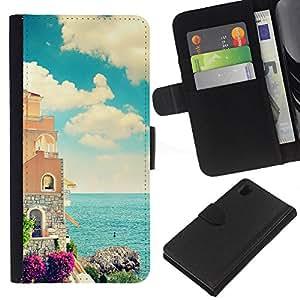 KingStore / Leather Etui en cuir / Sony Xperia Z1 L39 / Mar Florencia Francia Italia Mar Arquitectura calma