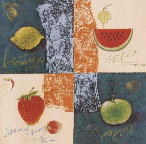The Perfect Effect Canvas Of Oil Painting 'Lemon,Watermelon,Strawberry And Apple' ,size: 24x24 Inch / 61x61 Cm ,this High Definition Art Decorative Canvas Prints Is Fit For Bedroom Decor And Home Gallery Art And (Pre Order Lemon)