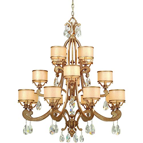 Chandeliers 8 Light Bulb Fixture with Antique Roman Silver Finish Hand Wrought Iron Candelabra 49