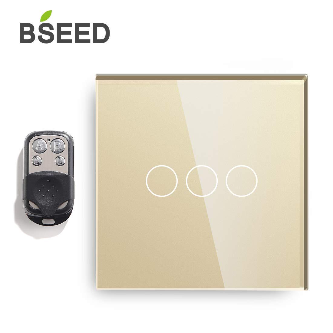 BSEED interruptor luz pared 3 Gang 1 Way interruptor tactil pared blanco interruptores de luz pared con pantalla t/áctil de vidrio