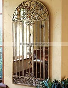 Extra Large Antiqued Gold WINDOW Arch MIRROR Wall Floor Iron