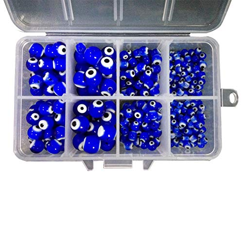 PH PandaHall 390 Pieces Evil Eye Lampwork Glass Beads 4mm 6mm 8mm 10mm Round Spacer Bead for Jewelry Making, Blue