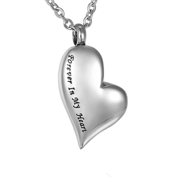 HooAMI Cremation Urn Necklace Together Forever Stainless Steel Memorial Keepsake Cylinder Pendant for Ashes