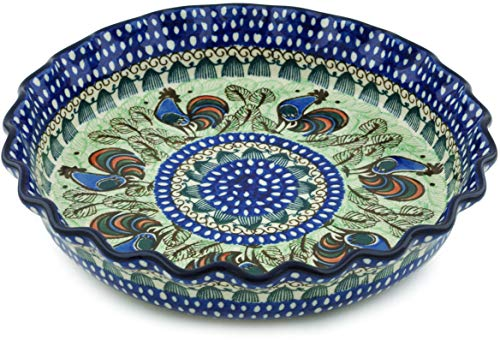 Polish Pottery 10-inch Fluted Pie Dish made by Ceramika Artystyczna (Rooster Row Theme) Signature UNIKAT + Certificate of Authenticity