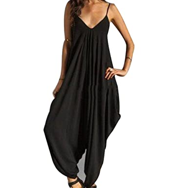 c74ce1ec2fc6 Cutecc Women Sexy V Neck Sleeveless Baggy Beach Party Jumpsuit Romper Harem  Suit (M)